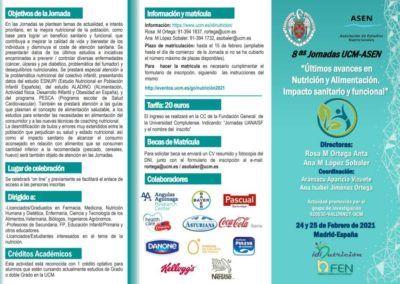 """8as Jornadas UCM-ASEN """"Últimos avances en Nutrición y Alimentación. Impacto sanitario y funcional"""""""